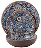 Melange 12-Piece Melamine Dinnerware Set (Moroccan Tiles) | Shatter-Proof and Chip-Resistant Melamine Plates and Bowls | Blue | Dinner Plate, Salad Plate & Soup Bowl (4 Each)