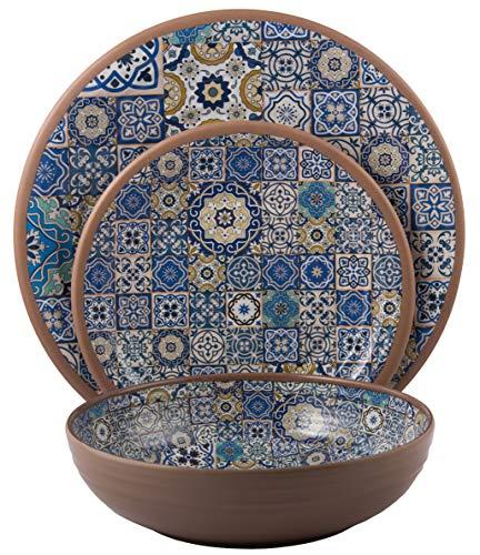 Melange 12-Piece Melamine Dinnerware Set (Moroccan Tiles) | Shatter-Proof and Chip-Resistant Melamine Plates and Bowls | Blue | Dinner Plate, Salad Plate & Soup Bowl (4 Each)