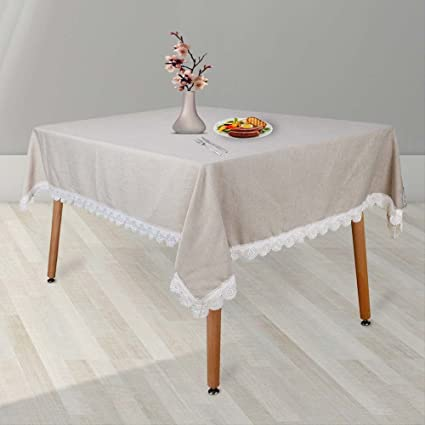 MANVEN Stain Resistant Washable Wrinkle Free Tablecloths For Square Table  52 X 52 Inch Beige,