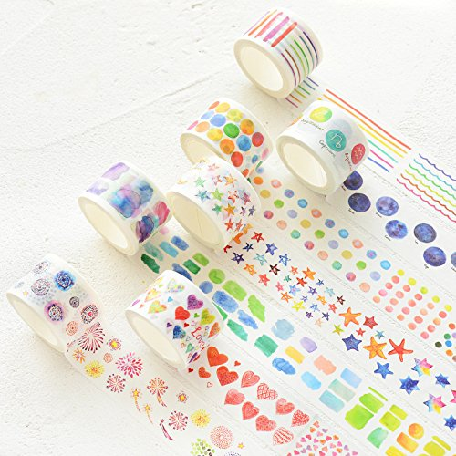 Washi 30mm Washi Tape Stars 5 pcs Basic Decoration Tape 30mm Water Color Star Heart Block Dots Clover Paper washi Masking Tapes Scrapbook A6349