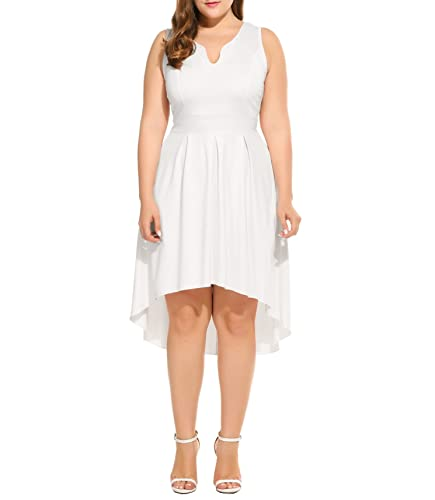 Meaneor Women Plus Size High Low Pleated Skater Sleeveless Cotton Dress with Empire Waist L-4XL