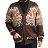 CELITAS DESIGN Cardigan V Neck Buttons Pockets Llamas Made in Peru Brown Large