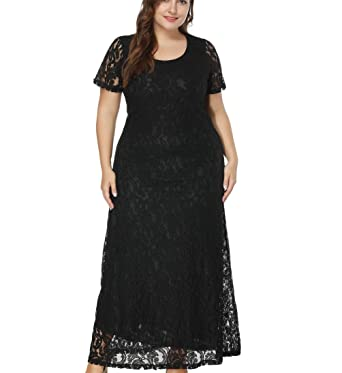 f07cbcf216c Eternatastic Women s Floral Lace Long Dress Plus Size Party Dress Black 6XL