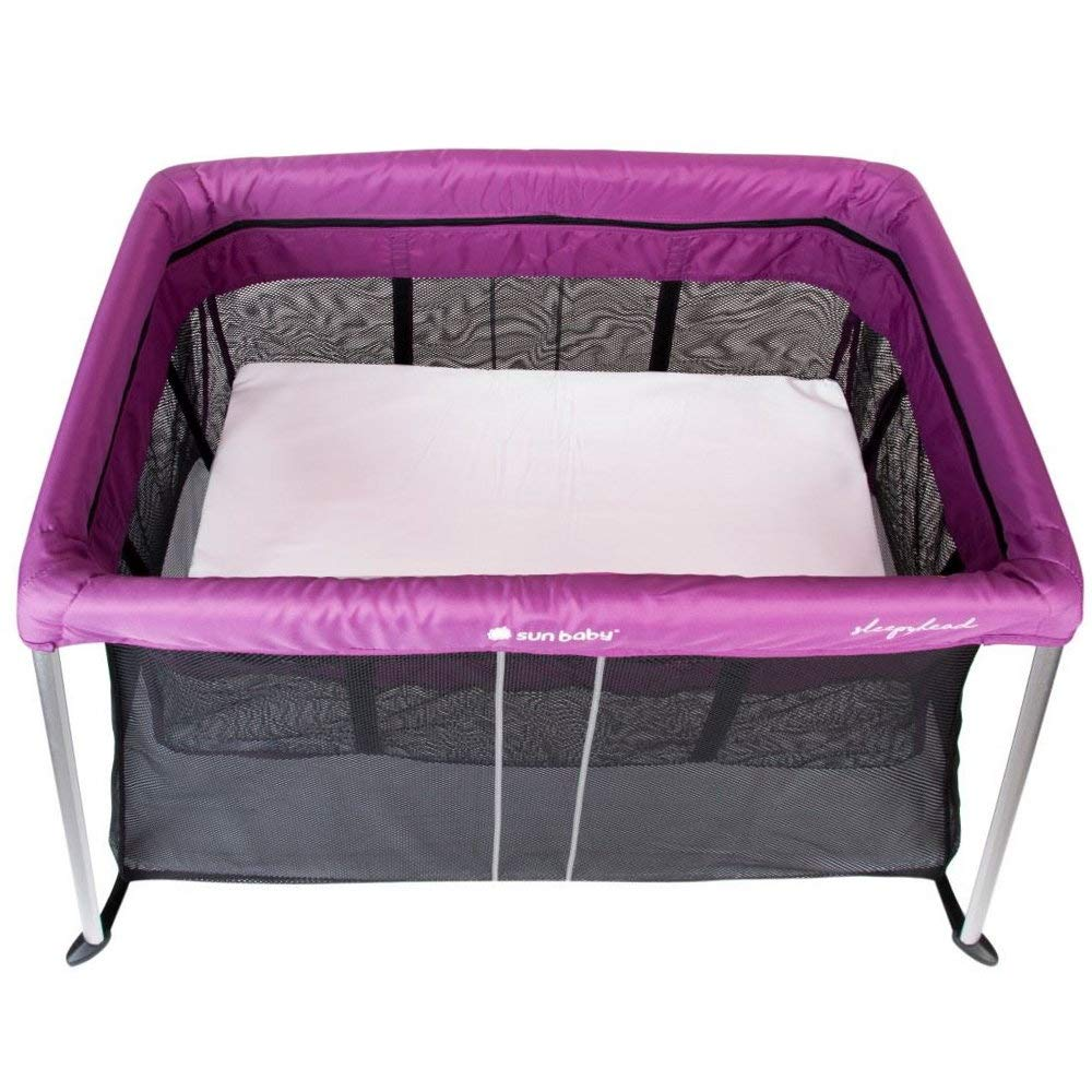 Baby Reisebett mit 2 Ebenen inkl Matratze Beistellbett Babybett lila M/ädchen Jungen Tasche Bassinet