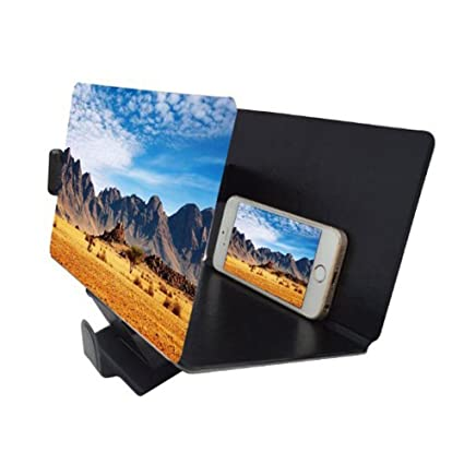 canyoze screen magnifier 3d smart mobile phone movies amplifier with pu leather foldable holder stand for