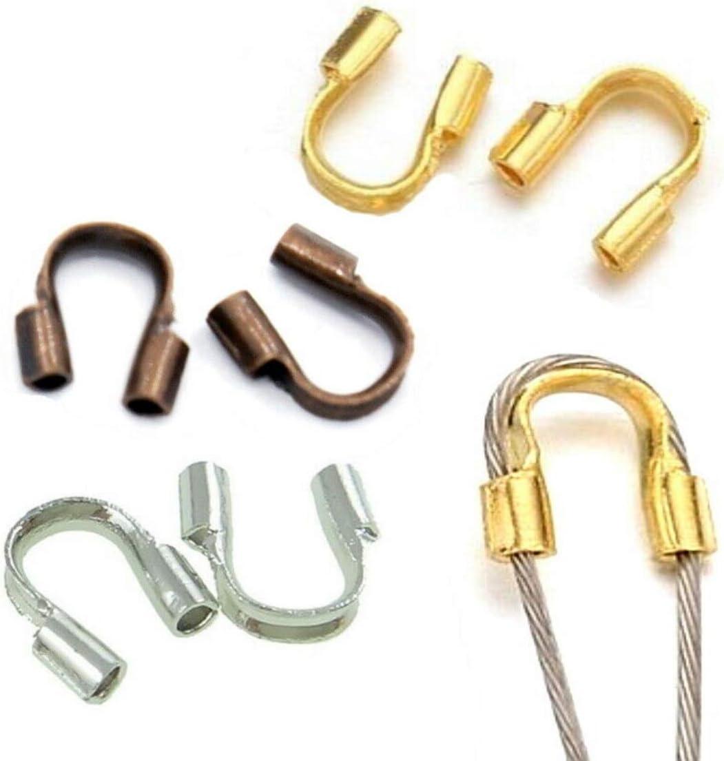 Perlin Juego de 60 Protectores de Alambre para Joyas, 5 x 5 mm, en 3 Colores Plateado, Dorado y Cobre, Protectores de Cables de latón