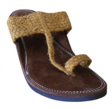 2c835762b69a33 Kalra Creations Men s Traditional Indian Brown Velvet Designer Slippers UK  5.5 M
