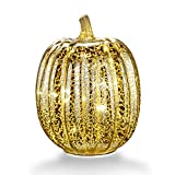 """Mercury Glass Home Decor Accents, XY Decor 7.7"""" Battery Operated LED Pumpkin Lights with Timer for Fall, Halloween and Thanksgiving Decoration(Silver)"""