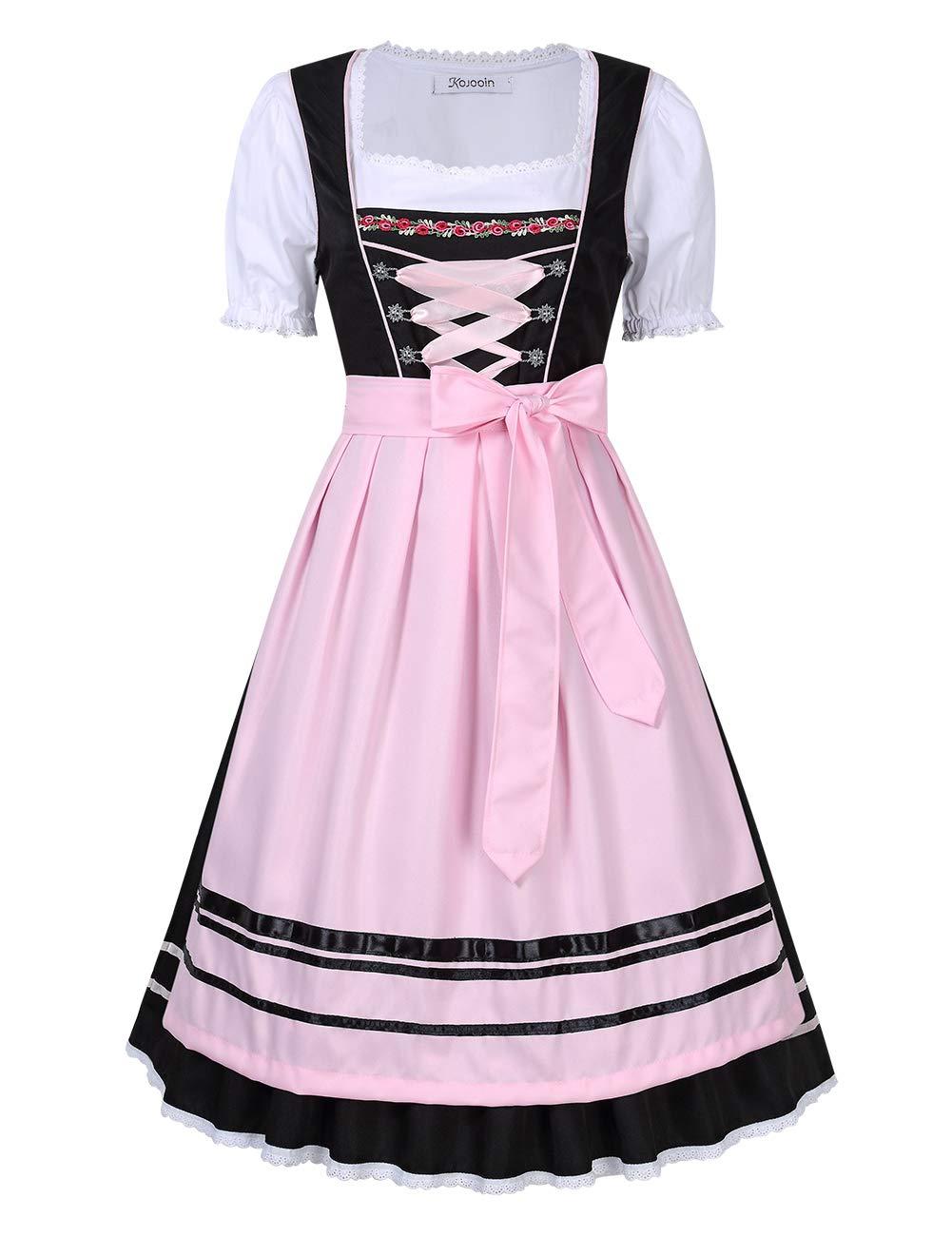 Trachtenkleid Dirndl, Set 3 Teilig mit Bluse Schürze Damen Kleid für Oktoberfest 34