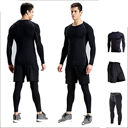 e5b9088bbb7 Men's Fitness Clothing Set 3 Pcs Mens Fitness Gym Clothing Set ...