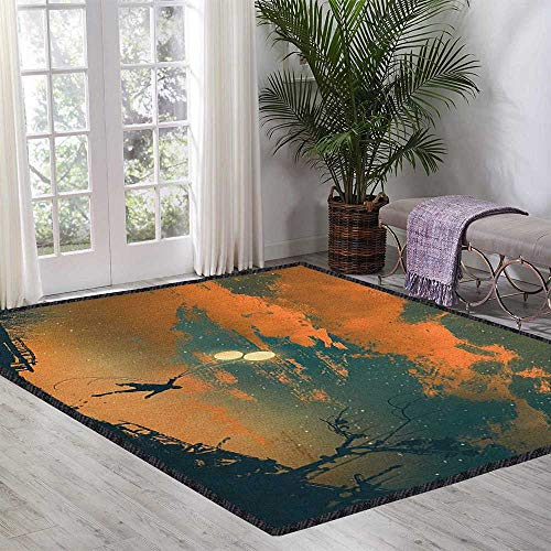 Fantasy Polyester Fiber Area Rugs,Flying Man with Balloons