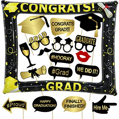 Tifeson Graduation Photo Booth Props and Inflatable Selfie Frame Include - Graduation Party Decoration Supplies 2019 for College High School,NO DIY Required 18 -