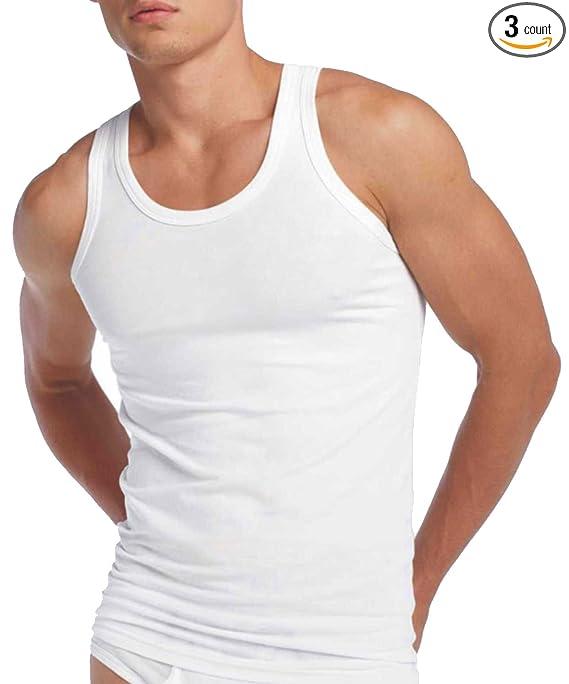 3 Mens Vests 100/% Cotton Interlock Singlets Underwear All Sizes White Blue