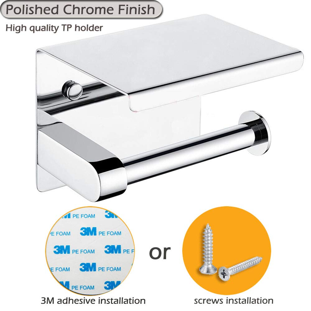 Adhesive Toilet Paper Holder - Stainless Steel Toilet Roll Holder with Phone Shelf Wall Mounted for Bathroom, It Holds Mega Roll- Polished Chrome