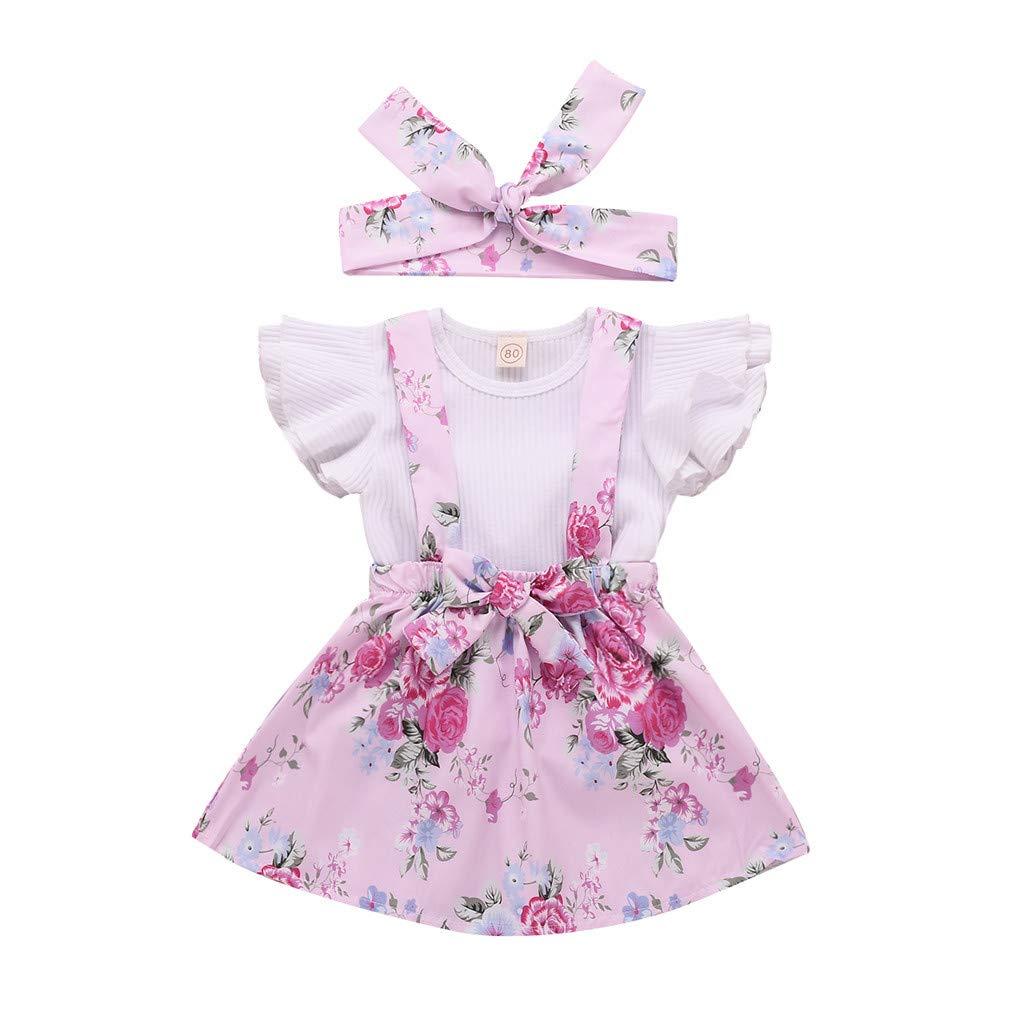 BeautyTop 0-24 Monat Kleidung Set Baby M/ädchen Kleinkind Baby Toddler Kinder kurz/ärmeligen 3 St/ück Kind Baby Kurzarm Harem Riemen Rock Haarband dreiteiligen Anzug