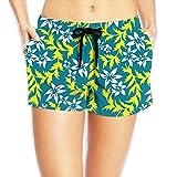 Color Flower Womens Popular Elastic Waist Shorts Breathable Lightweight Beach Shorts