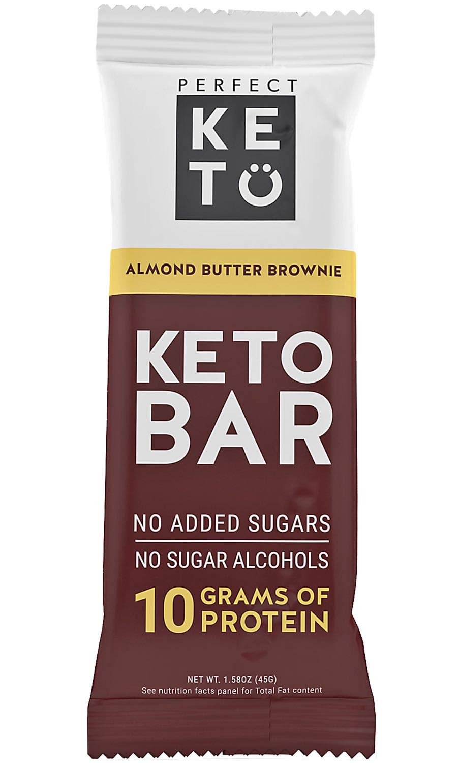 Perfect Keto Bars - The Cleanest Low Carb Keto Snacks with Collagen and MCT. No Sugar, Keto Diet Friendly - 3g Net Carbs, 19g Fat, 10g protein - Keto Diet Food Dessert (Almond Butter Brownie, 12 Bars)