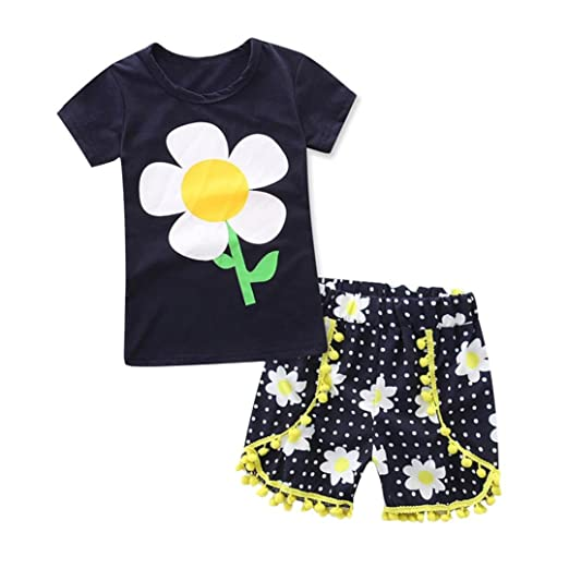 b72ee95a8 Amazon.com: XEDUO Toddler Kids Baby Girls Sunflower T Shirt Tops+Shorts  Pants Clothes Outfits Set: Clothing
