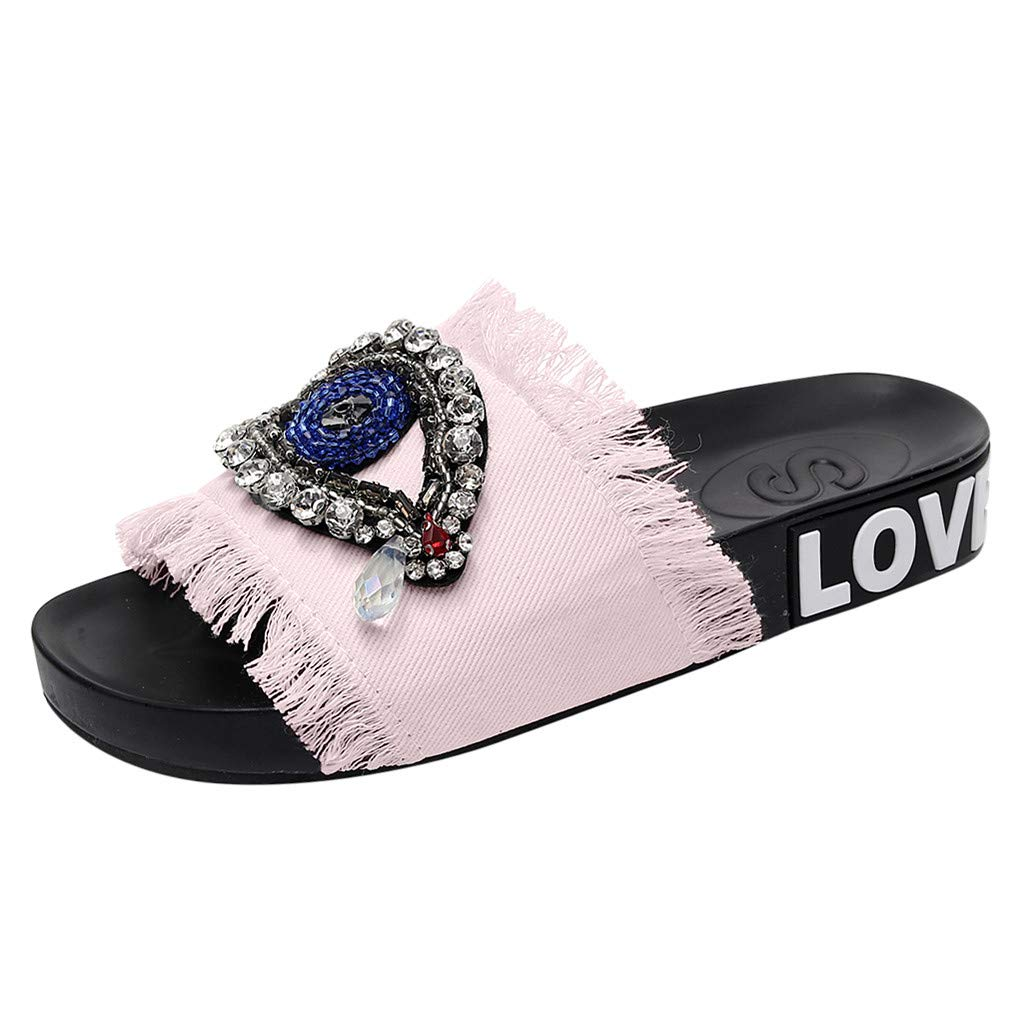 Womens Sexy Crystal Flat Sandals Slippers Home Anti-Slip Outdoor Indoor Party Beach Sandals Shoes 5.5-8 (Pink, US:8)