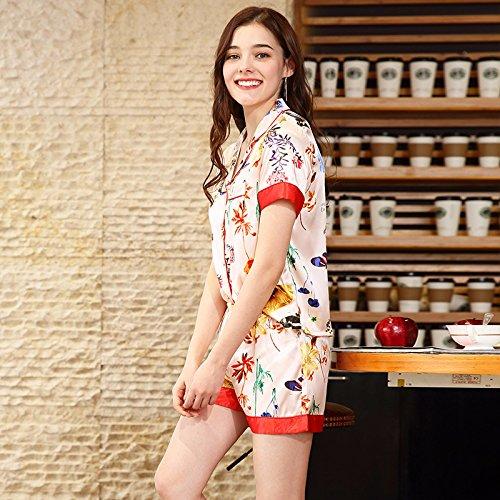 Servicio Pantalones Cortos De Home Seda Domicilio Primavera Xinsu color Manga Damas Pink Traje L A Size Corta Pink Simulación Pijamas dtP0qqwx8