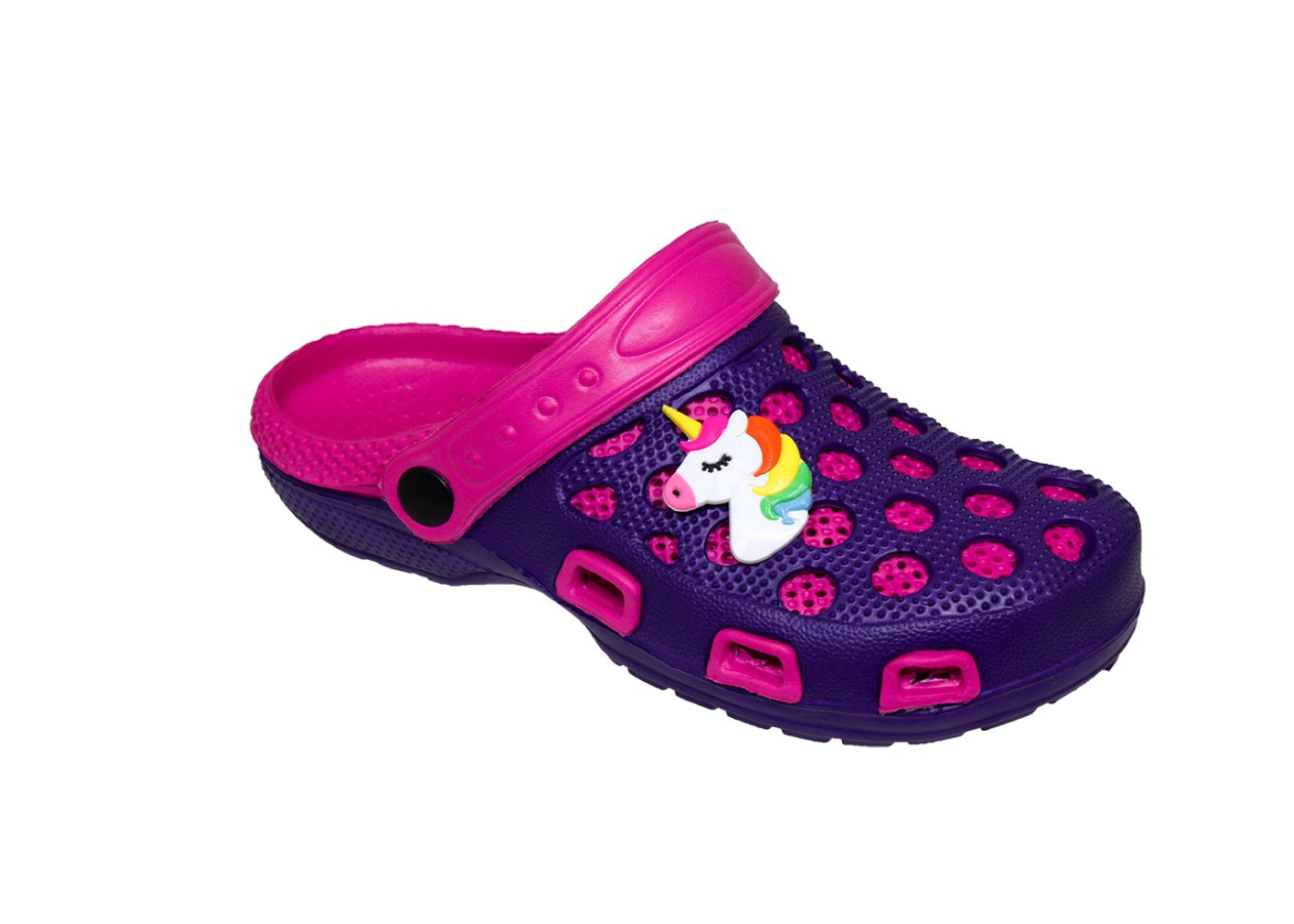 WP Spring/Summer Toddler Girls' Fashion Slingback Sandal Clogs with Cute Appliqué Detail (US Toddler 8, Pink/Purple)