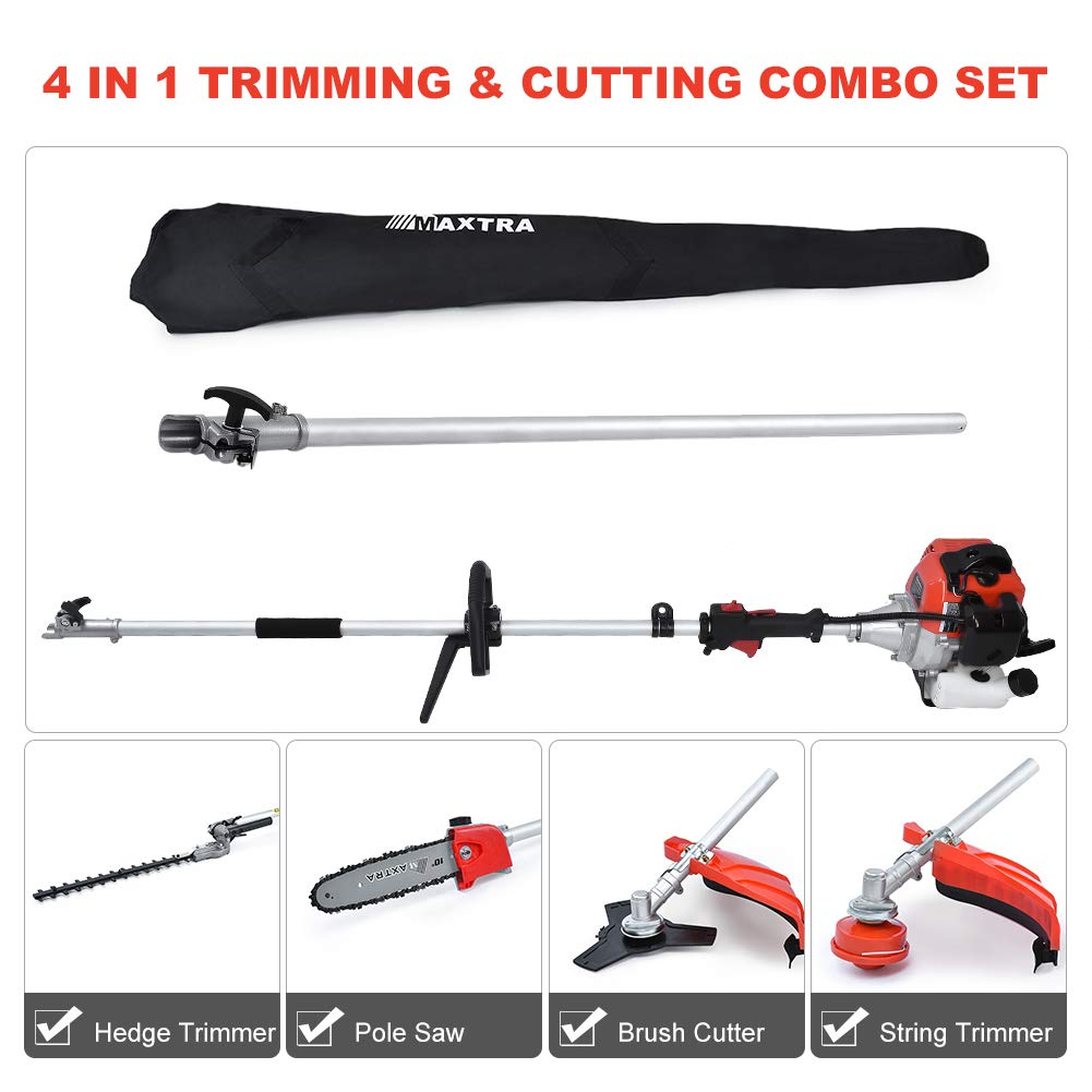 Maxtra 42.7cc Gas Pole Tree Trimming Combo Set 4 in 1 Cordless Gas Pole Chainsaw Hedge Trimmer Grass Brush Cutter with Extension Reach to 13ft with Portable Bag