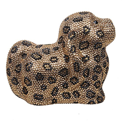 Fawziya Dog MIni Size Cute Clutch Purse For Girls Crystal Clutch Handbags-Leopard