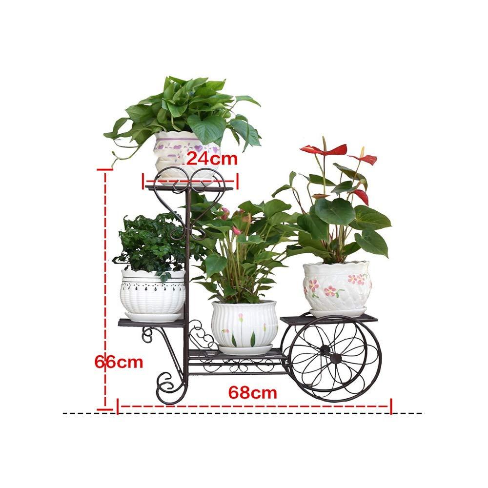MILAYA JI Bin Shop® Creative Flower Stand, Metal Floor Wheel Pot ...