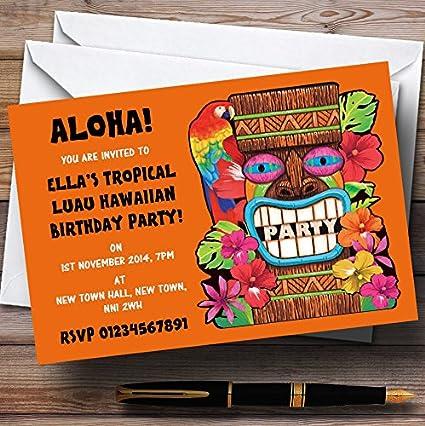 Naranja Tropical Luau hawaiano personalizado invitaciones de ...