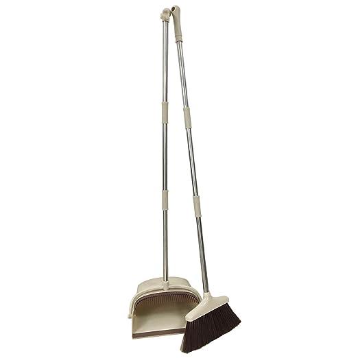 URARA LIFE 掃除セット 新型のほうき&ちりとりセット 延長可能 長柄120cm 腰を曲げずに掃除可能 収納に便利 ベージュ