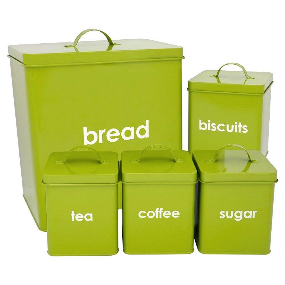 Relatively 5 Piece Kitchen Jars Storage Cannisters Bread Bin Tea Coffee Sugar  AH92