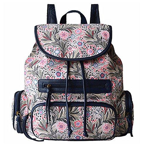 BYD - Mujeres Bolsos mochila Bag Colorful Printed Flower School Bag Bolsa de viaje Vintage Style Color derosa
