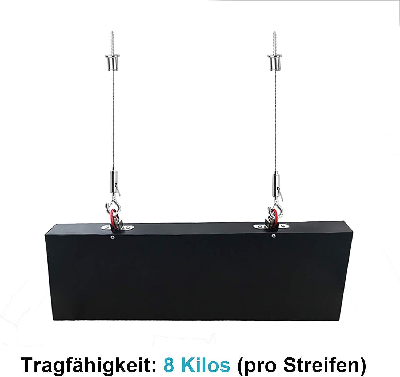 einfach zu k/ürzen verzinkter Stahl 4er-Pack Seilaufh/ängung Einbauset jedes Seil 1 m 8 kg Tragf/ähigkeit f/ür LED Panel Deckenleuchte 1,5 mm dick Drahtseile Aufh/ängeset Montage Stahlseil mit Klemme