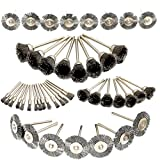 Hanperal 45Pcs Steel Wire Wheels Pen Brushes Set Kit Accessories for Dremel Rotary Tool