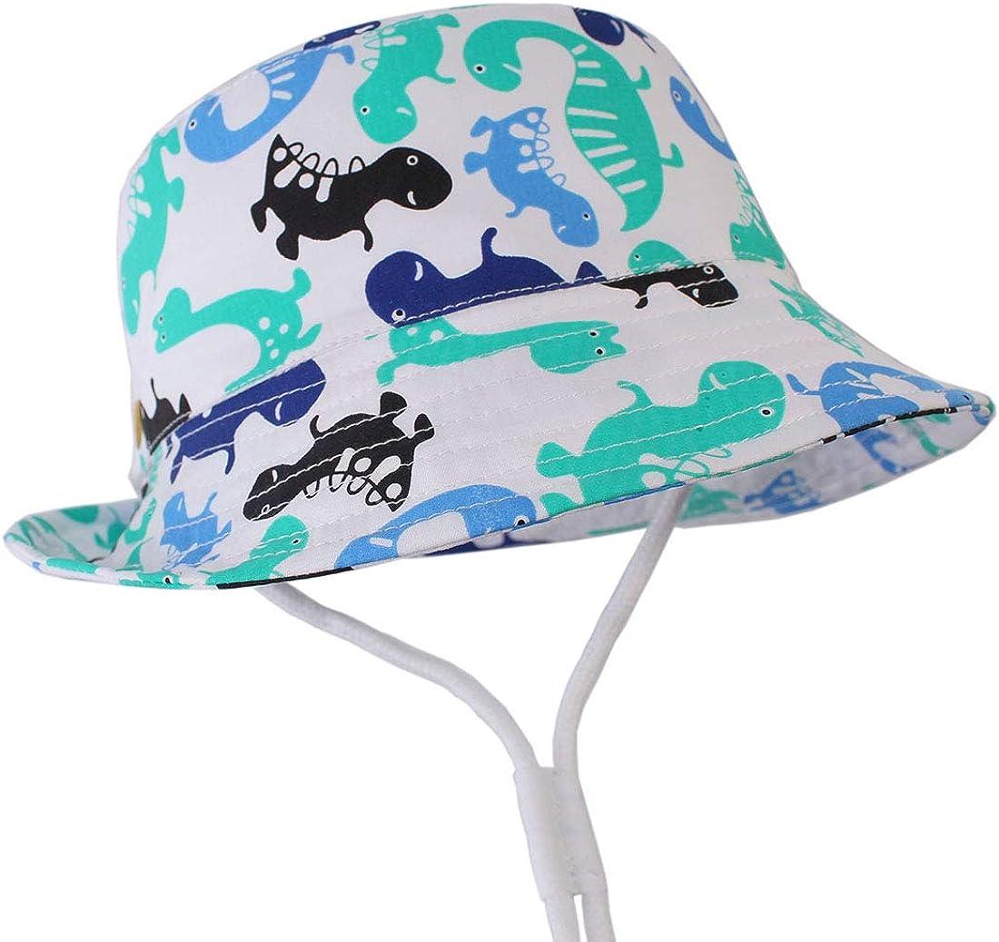 GWELL B/éb/é Chapeaux de Soleil Plage Protection Anti-UV pour Enfant Coton Animaux Dinosaure Poisson