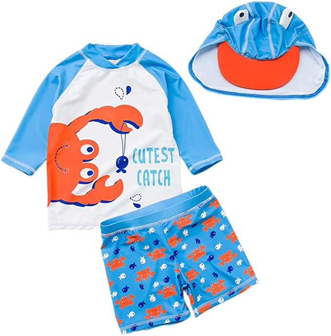 Baby Toddler Boys Two Pieces Swimsuit Set Boys Bathing Suit Rash Guards with Hat UPF 50+
