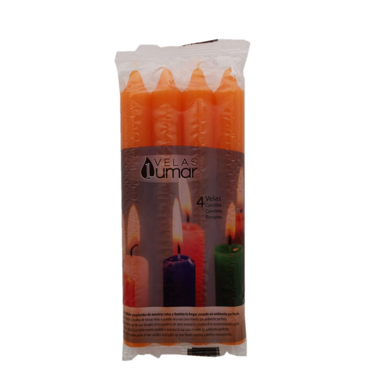 Vela de Mesa Multiples Colores 17,5 cm (Naranja, 4 Velas ...