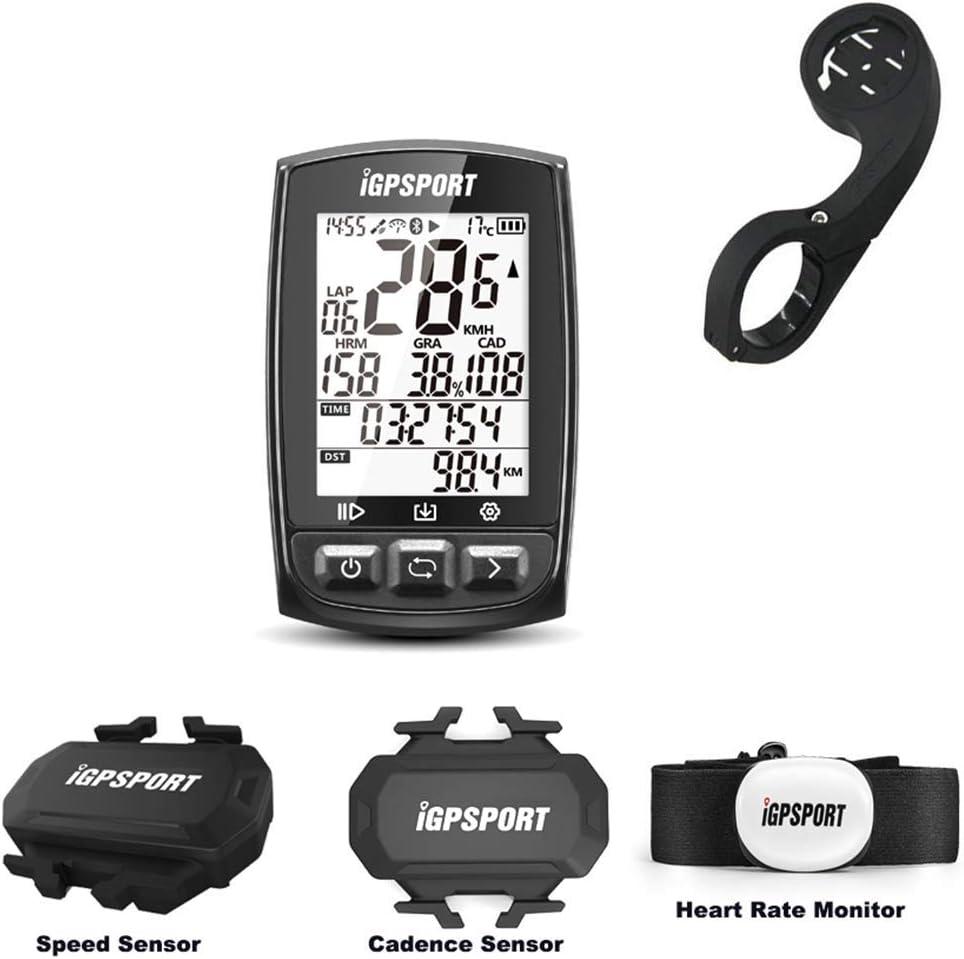 MLSice ワイヤレス GPS 自転車 コンピュータ、サイクリング GPS コンピュータ チェスト ストラップ HRM + スピードセンサー + ケイデンス センサー + アウト フロント バイク マウント 付 ブルートゥース 機能 付