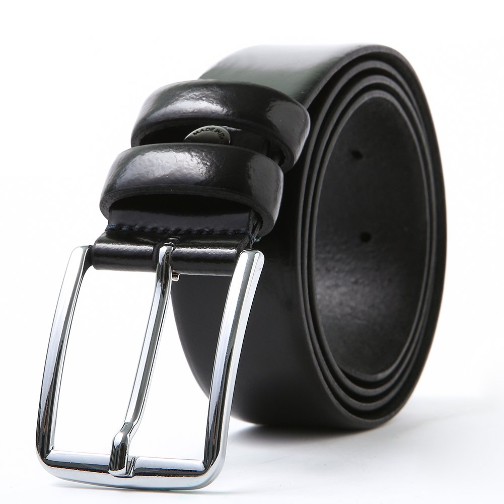 Mens Genuine Leather Dress Belt with Pin Buckle 35mm 36