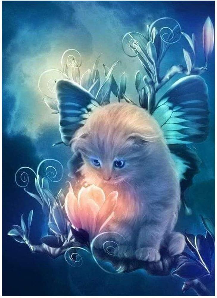 Wowdecor Katze Elf Licht Tiere Full Set Gro/ß DIY Diamant Gem/älde Malen Nach Zahlen 5D Diamond Painting Diamant Malerei Painting Bilder