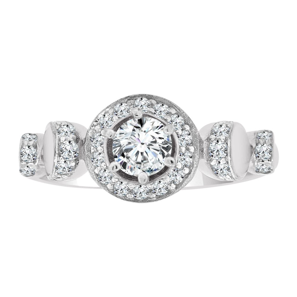 14k White Gold, Fancy Engagement Ring Lab Created CZ Crystals