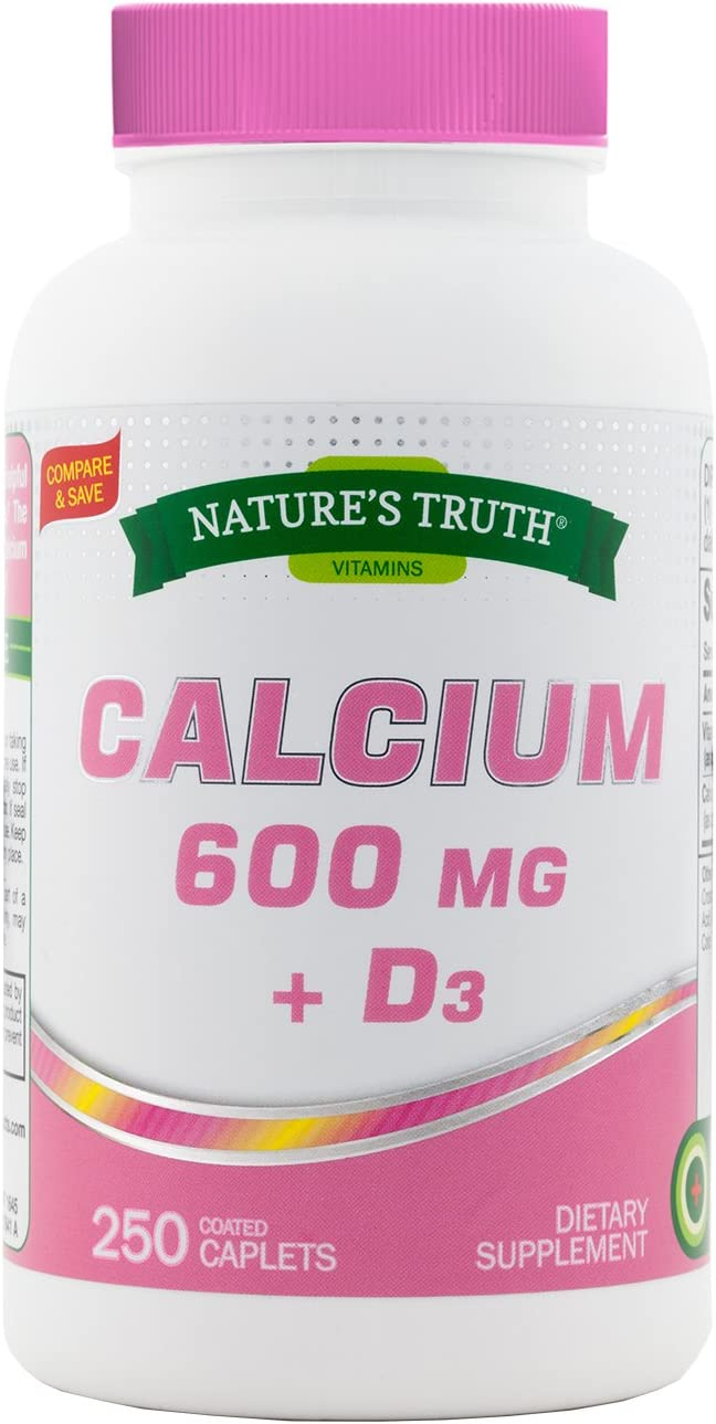 Nature's Truth Calcium 600 mg Plus Vitamin D3 Tablets, 250 Count