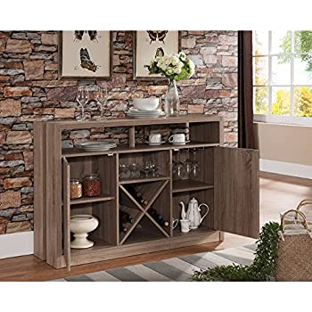 benzara bm148792 enticing buffet table with metal wine racks light brown