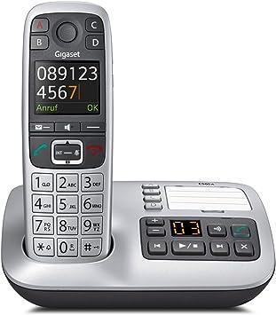 Gigaset E550A Dect-Gro/ßtasten-Schnurlostelefon mit Anrufbeatworter schwarz//platin Notruffunktion