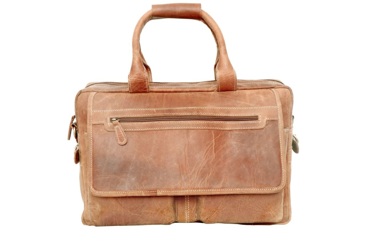 16 inch Sperry Leather Vintage Style Messenger Bag Portfolio Briefcase Laptop Case for Men brifcase