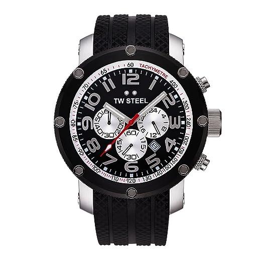 TW Steel TW-85 - Reloj cronógrafo unisex de cuarzo con correa de goma negra (cronómetro) - sumergible a 100 metros: Amazon.es: Relojes