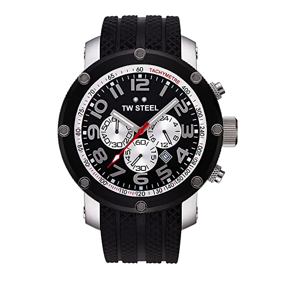 TW Steel TW-85 - Reloj cronógrafo unisex de cuarzo con correa de goma negra