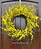 Handmade Yellow Forsythia Wreath in 20-22 Inch Diameter for Front Door-Mother's Day, Easter, Spring