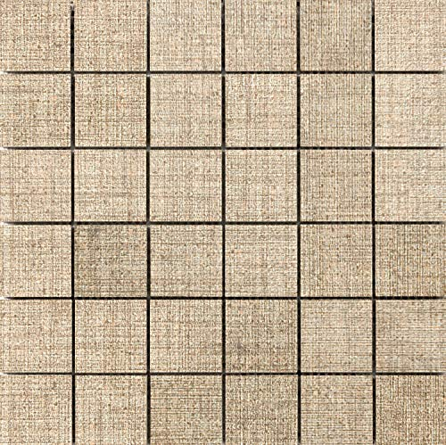 Flooring Mosaic Canvas - Emser Tile F72CANVLI1212MO Canvas - Square Mosaic Floor and Wall Tile - Textured Fabric Visual