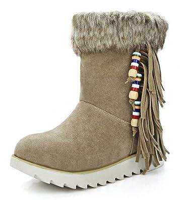 Women's Stylish Waterproof Fringe Faux Fur Lined Pull On Low Heel Platform Ankle Winter Snow Boots